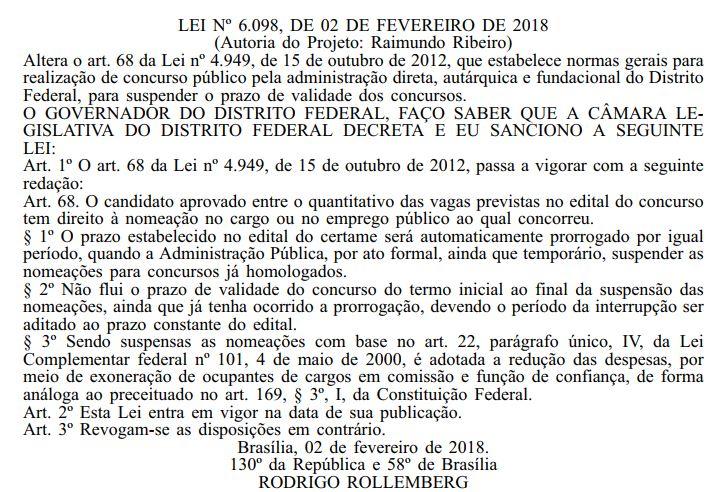 Transcrição da lei número 6098 dos concursos DF.