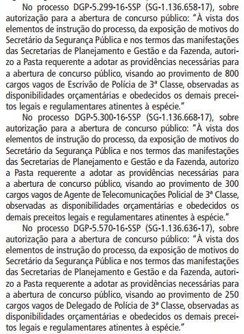 PC SP - vagas diário oficial
