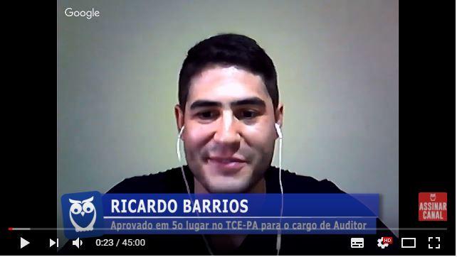 ENTREVISTA EM VÍDEO: Ricardo Barrios - Aprovado em 5º lugar no concurso do TCE-PA para o cargo de Auditor