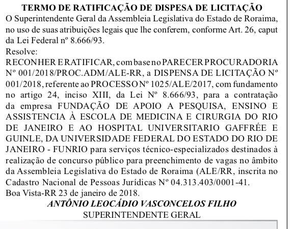 concurso assembleia legislativa roraima