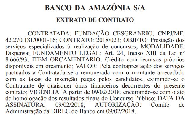 Banco da Amazônia divulga organizadora de Concurso Público