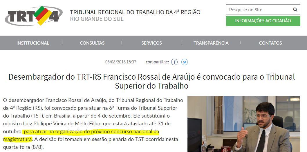 CONCURSO MAGISTRATURA DO TRABALHO