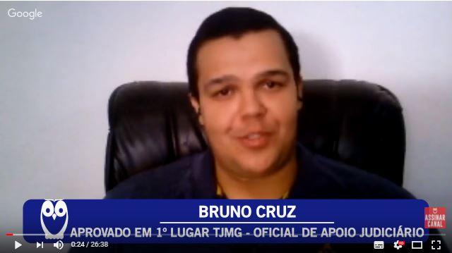 ENTREVISTA EM VÍDEO: Bruno Cruz - Aprovado em 1º lugar no concurso TJMG para o cargo de Oficial de Apoio Judiciário