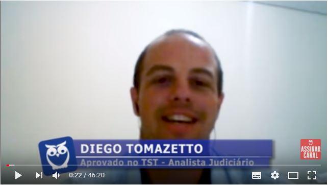 ENTREVISTA EM VÍDEO: Diego Tomazetto - Aprovado no concurso TST no cargo de Analista Especialidade Taquigrafia