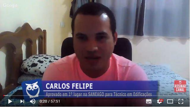 ENTREVISTA EM VÍDEO: Carlos Felipe - Aprovado em 1º lugar no concurso Saneago no cargo de Técnico em Edificações