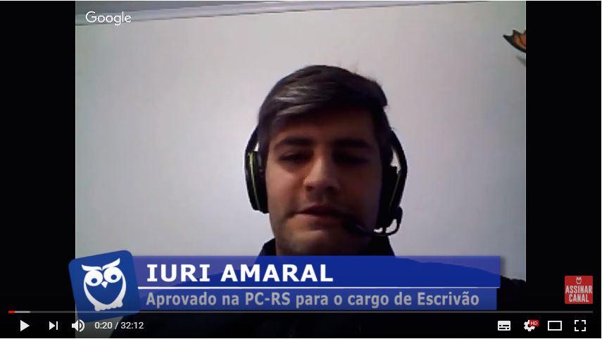 ENTREVISTA EM VÍDEO: Iuri Amaral - Aprovado no concurso da Polícia Civil do Rio Grande do Sul no cargo de Escrivão de Polícia
