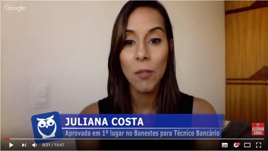 ENTREVISTA EM VÍDEO: Juliana Costa - Aprovada em 1º lugar no concurso BANESTES no cargo de Técnico Bancário (Vitória)