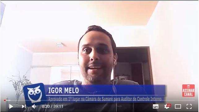 ENTREVISTA EM VÍDEO: Igor Melo - Aprovado em 1º lugar na Câmara de Sumaré para o cargo de Auditor de Controle Interno
