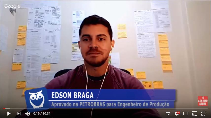 ENTREVISTA EM VÍDEO: Edson Braga - Aprovado no concurso Petrobras no cargo de Eng. de Produção