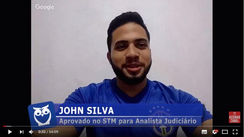 ENTREVISTA EM VÍDEO: John Silva - Aprovado no concurso STM para o cargo de Analista Judiciário Área Judiciária