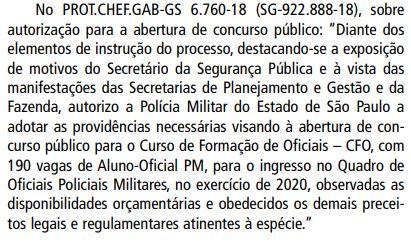 Autorização Concurso PM SP Aluno Oficial
