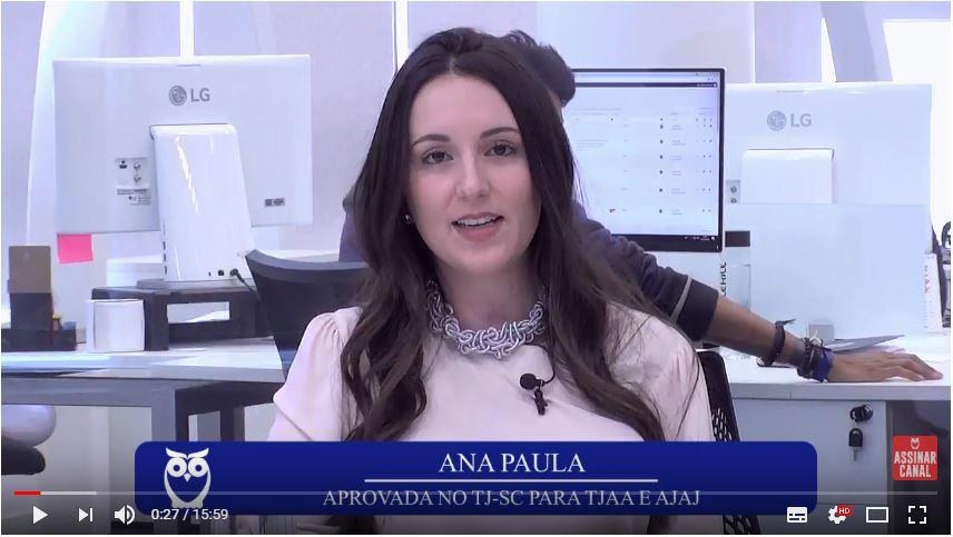 ENTREVISTA EM VÍDEO: Ana Paula De Simas Machado - Aprovada no concurso TJSC em 1º lugar nos cargos de TJAA e AJAJ (Blumenau)