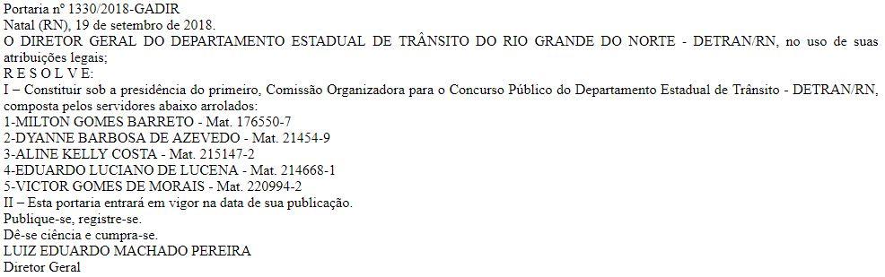 Publicação que constitui a comissão responsável pela organização do próximo concurso Detran RN.