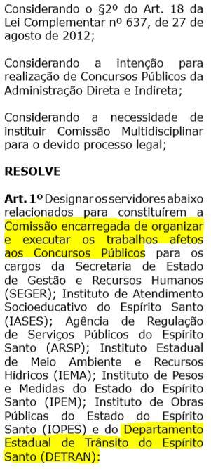Portaria que designa relação da comissão para próximo concurso Detran ES