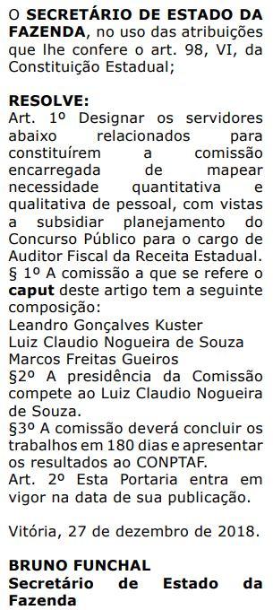 Documento que designa os membros da comissão do concurso Sefaz ES