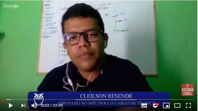ENTREVISTA EM VÍDEO: Cleilson Resende - Aprovado no concurso MPU no cargo de Técnico (DF - PCD)