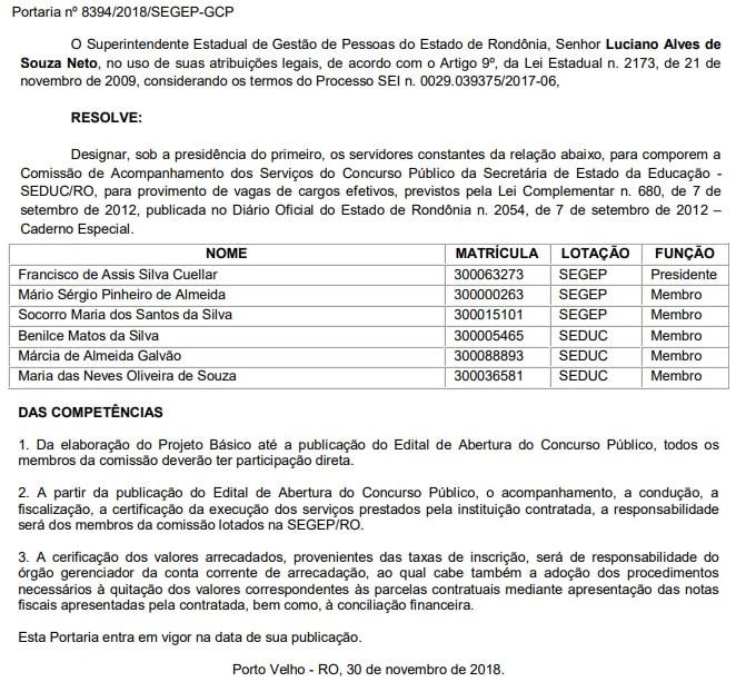 Comissão organizadora Concurso Seduc RO