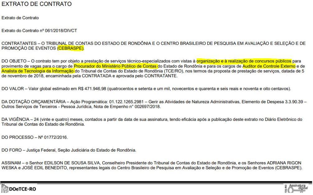 Concurso TCE RO Banca Definida
