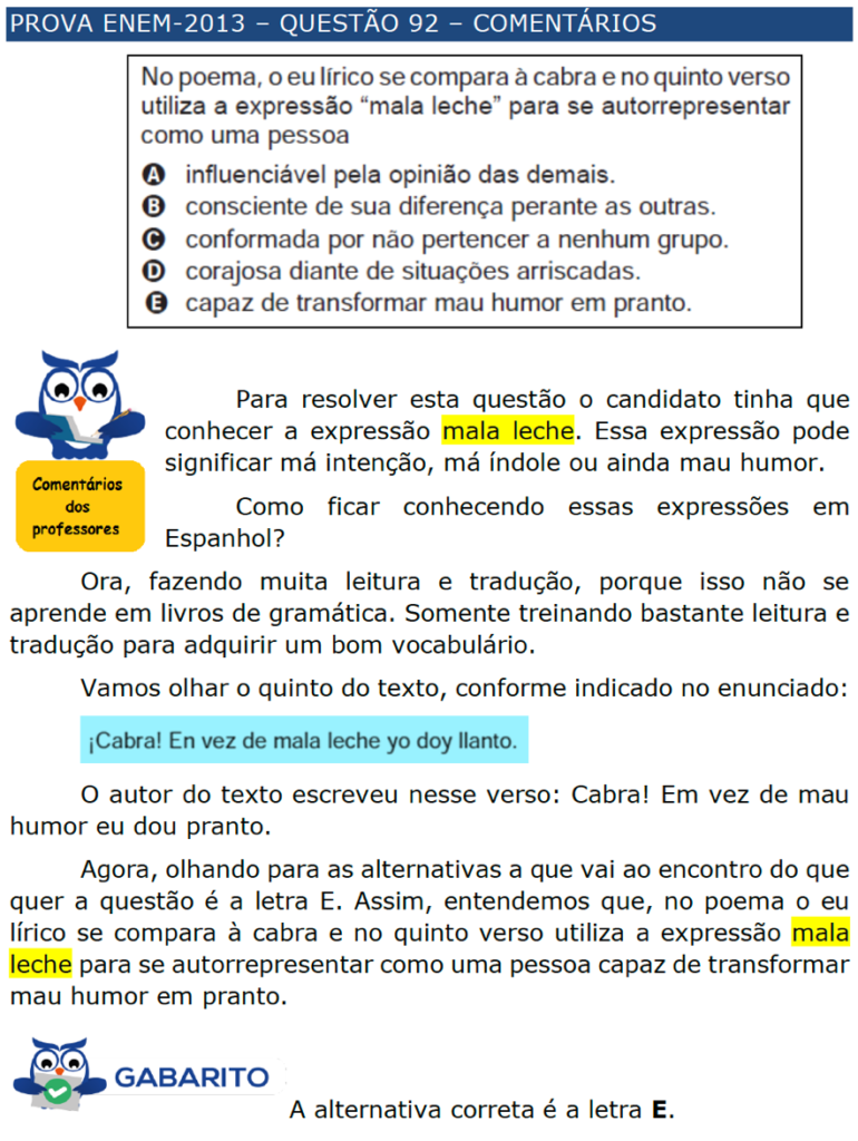 enem espanhol \u2013 questÕes \u2013 artigo 37 454097 Exercicios De Artigos Em Espanhol #13