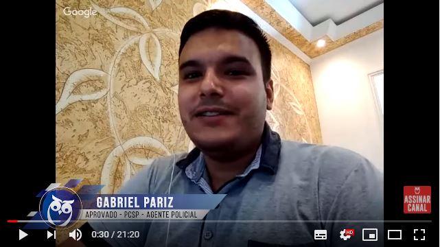 ENTREVISTA EM VÍDEO: Gabriel Pariz - Aprovado no concurso da Polícia Civil de São Paulo no cargo de Agente Policial