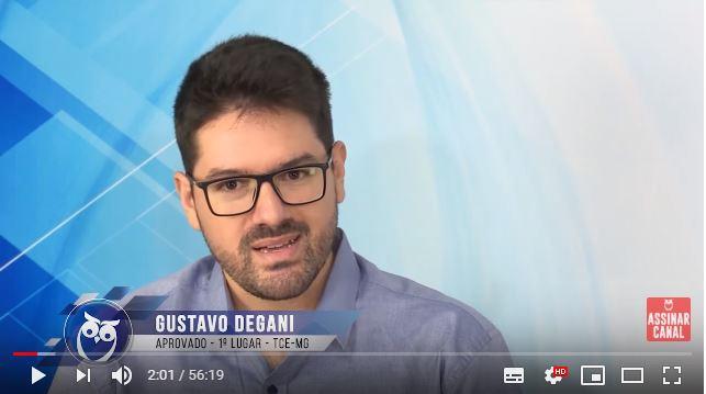 ENTREVISTA EM VÍDEO: Gustavo Degani - Aprovado em 1º lugar no concurso TCE MG no cargo de Analista de Controle Externo -Administração