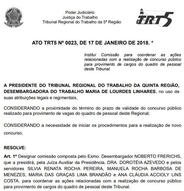 Comissão do concurso TRT BA