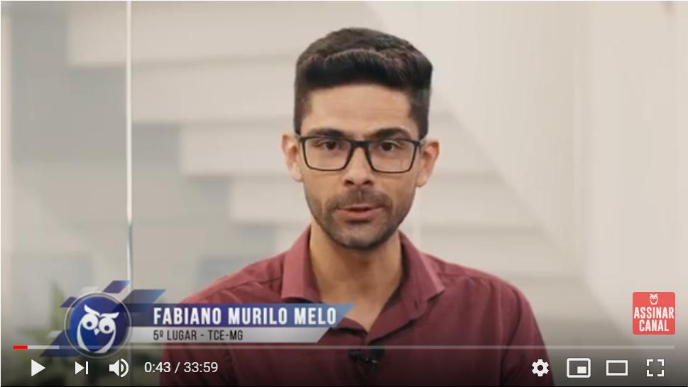 ENTREVISTA EM VÍDEO: Fabiano Melo - Aprovado em 5º lugar no concurso TCE MG no cargo de Analista de Controle Externo - Direito
