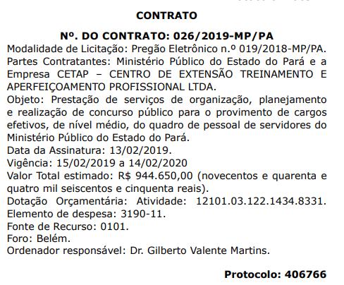 Extrato de contrato do concurso MP PA