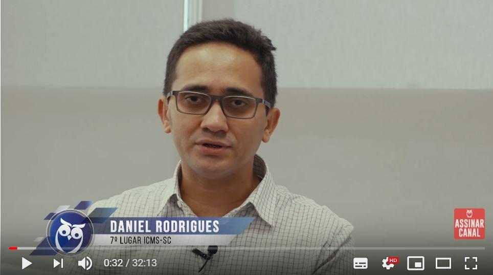 ENTREVISTA EM VÍDEO: Daniel Rodrigues - Aprovado no concurso ICMS SC em 7° lugar para o cargo de Auditor Fiscal - Área Tecnologia da Informação