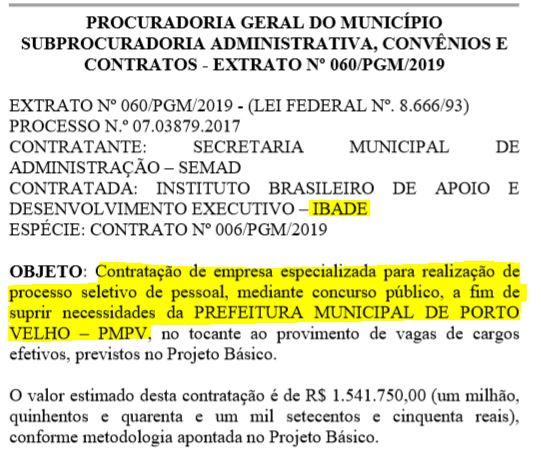 Concurso Prefeitura Porto Velho banca definida.