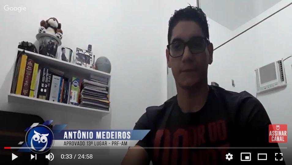 ENTREVISTA EM VÍDEO: Antônio Benjamin Leão de Medeiros – Aprovado em 13º lugar no concurso PRF para o estado do Amazonas (provas objetiva e discursiva)