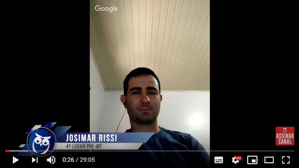 ENTREVISTA EM VÍDEO: Josimar Rissi – aprovado em 4º lugar no concurso PRF para o estado do Mato Grosso (provas objetiva e discursiva)