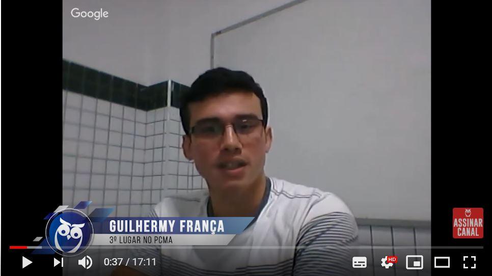 ENTREVISTA EM VÍDEO: Guilhermy Abraão - Aprovado em 3º lugar no concurso PC MA no cargo de Escrivão