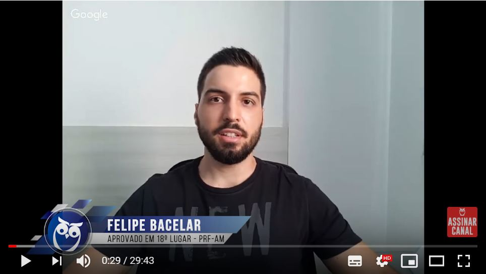 ENTREVISTA EM VÍDEO: Felipe Bacelar - Aprovado em  18º lugar no concurso PRF para o estado de Amazonas (provas objetiva e discursiva)