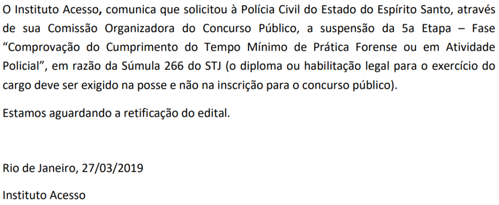 Comunicado da banca organizadora que suspende a 5ª etapa do concurso Delegado ES.