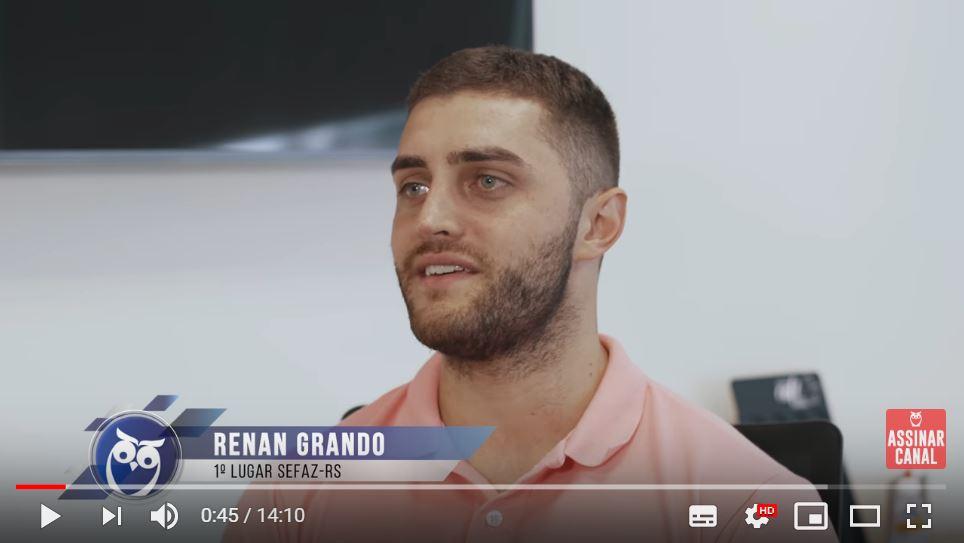 ENTREVISTA EM VÍDEO: Renan Brendler Grando - Aprovado em 1º lugar no concurso SEFAZ RS para o cargo de Auditor-Fiscal da Receita Estadual
