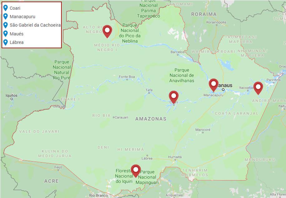 mapa das cidades com lotações previstas do concurso DPE AM.