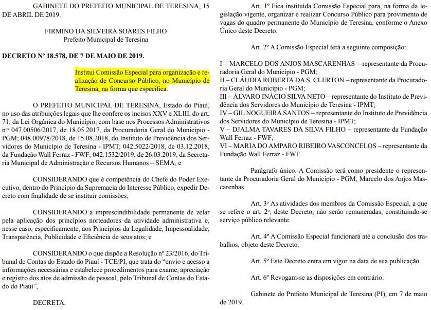 comissão organizadora do concurso prefeitura teresina