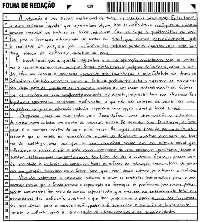 Redação nota 1000 - Exemplo 1