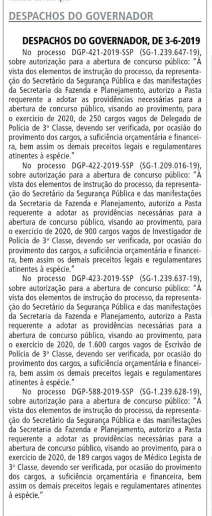 Despacho completo que autoriza um novo concurso Polícia Civil SP.