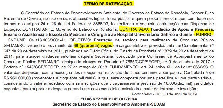 concurso sedam ro termo de ratificação de contratação da Funrio como banca organizadora do certame.