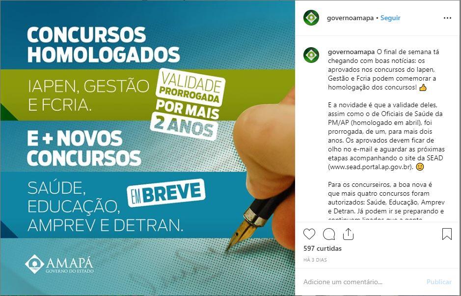 Anúncio, por meio de rede social do Governo do Amapá, que informa a autorização para um novo concurso Detran AP.