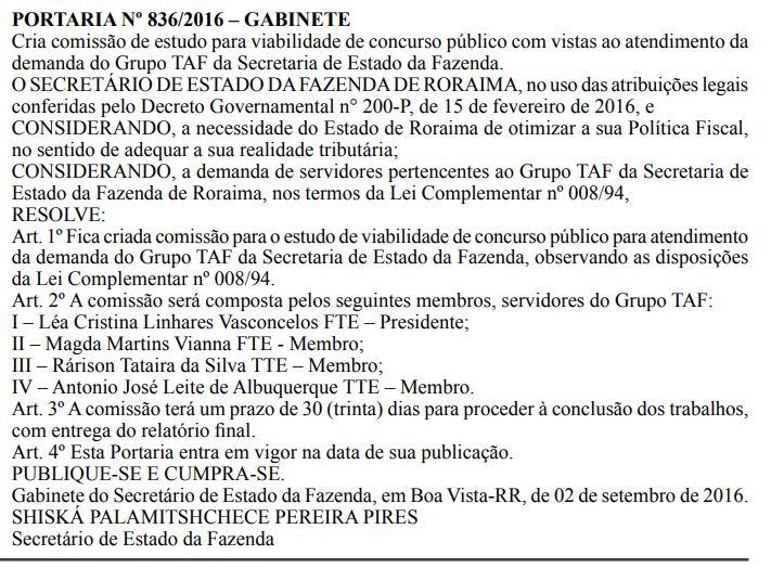 Comissão de estudo para viabilidade do Concurso Sefaz RR