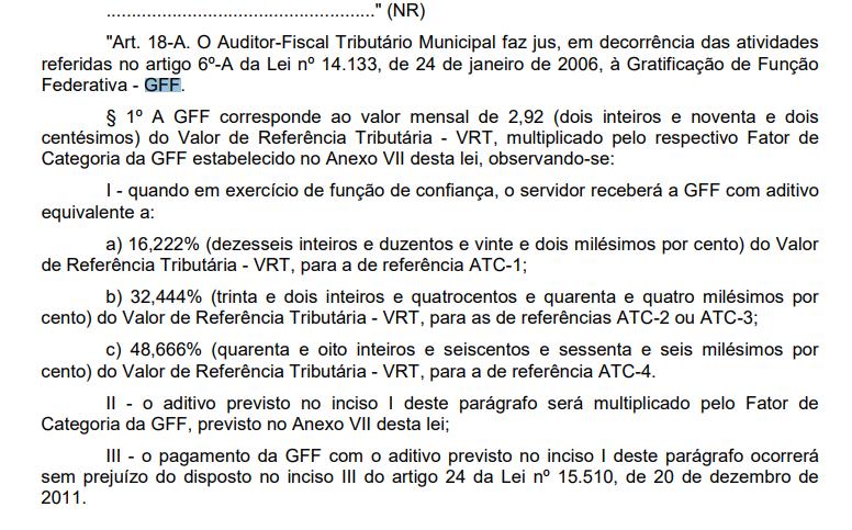 concurso ISS SP: artigo 18 que trata sobre os valores da GFF