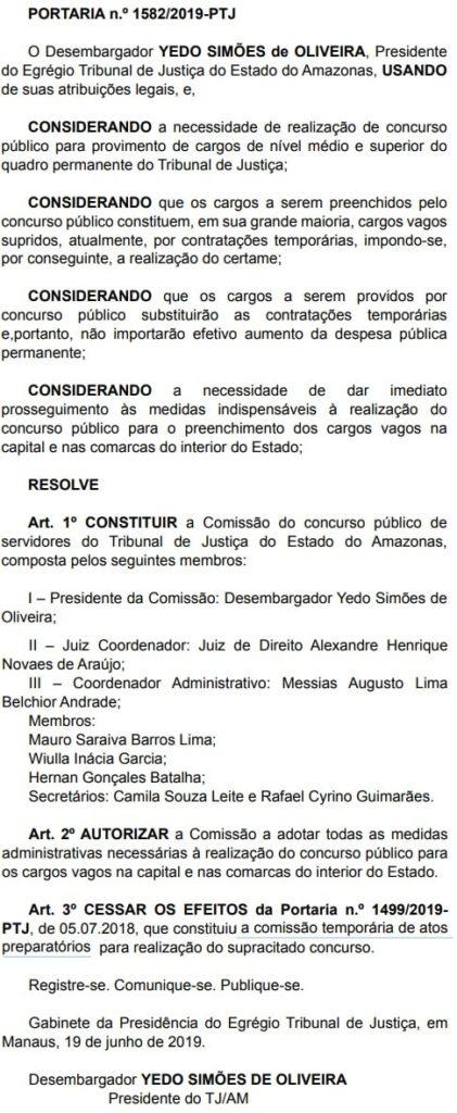 Comissão organizadora do Concurso TJ AM