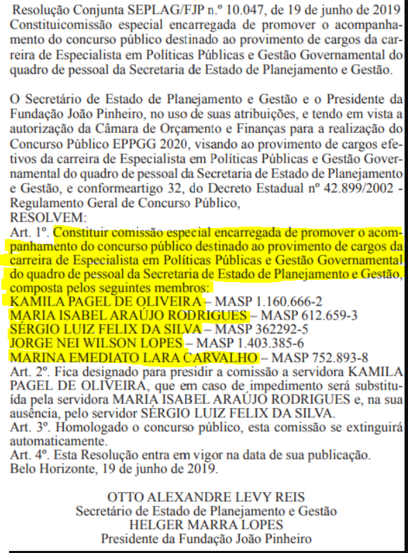 Abaixo você confere o documento oficial, que divulgou a comissão organizadora do certame