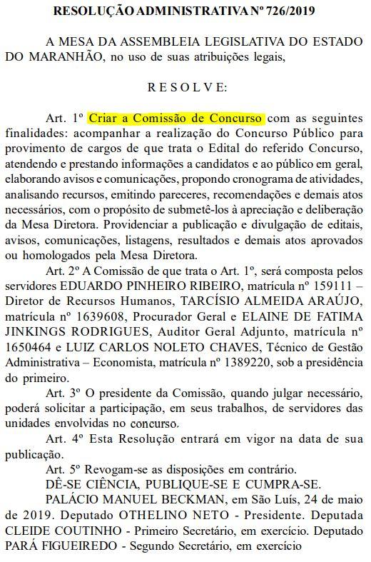 Comissão organizadora do concurso ALMA