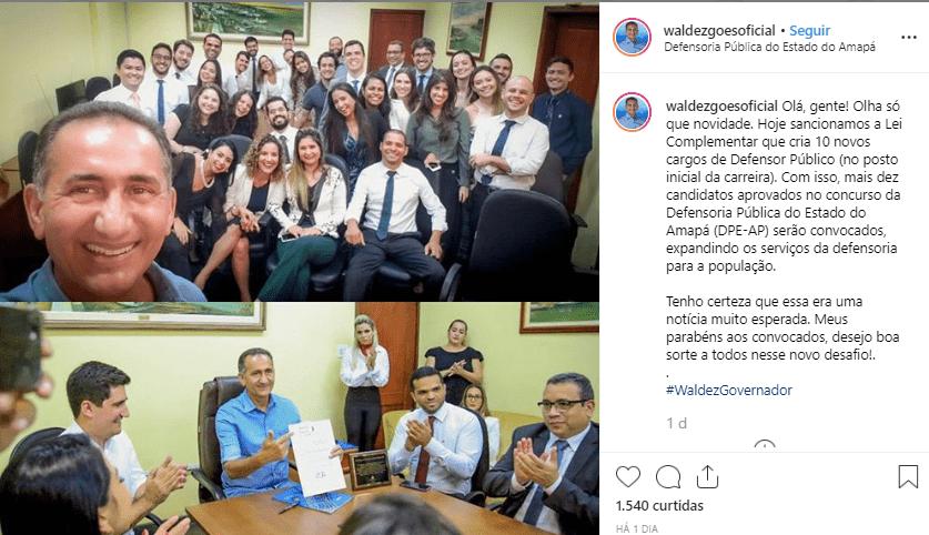 Concurso DPE AP Defensor: Rede social do governador Waldez Goes