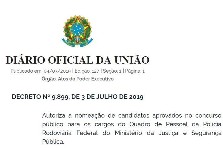 Concurso PRF: decreto autoriza nomeação de aprovados