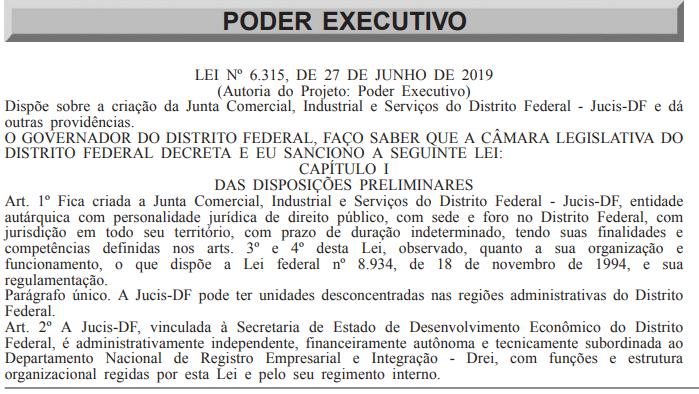 Confira abaixo parte do documento publicado no Diário Oficial do DF